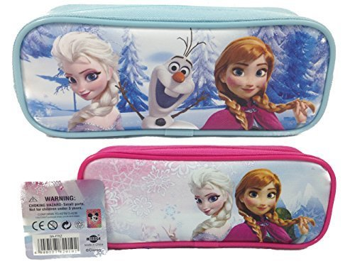 - Frozen Elsa and Anna Single Zipper Pouch Pink and Blue Pencil Case, 2-Pack