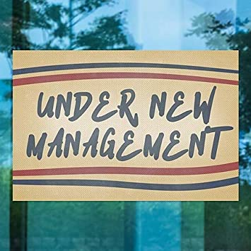 Under New Management Nostalgia Stripes Perforated Window Decal 5-Pack 30x20 CGSignLab