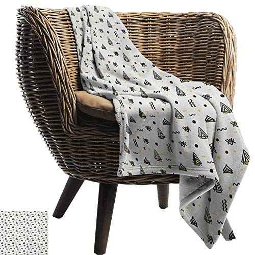 Sunnyhome Tribal, Throw Blanket,Abstract Angled Curved Stripes with Dots Triangles Doodle Style Composition 70