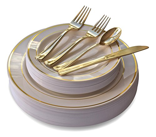 ce set / 25 guest - Wedding Plastic Plates & cutlery - Disposable heavyweight dinnerware 10.5'', 7.5'' + Silverware w/double fork (Bone w/Gold Rim) ()