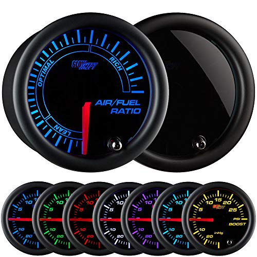 GlowShift Tinted 7 Color Narrowband Air/Fuel Ratio AFR Gauge - Lean, Optimal & Rich Readings - Black Dial - Smoked Lens - 2-1/16