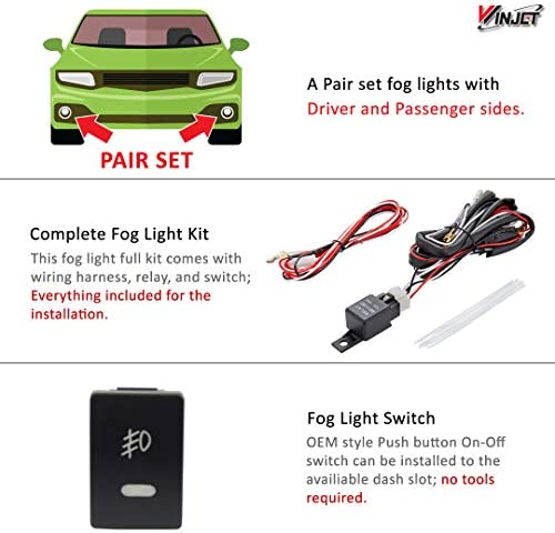 H8 Bulbs Replacement For Toyota Camry LE//XLE//Base 2010 2011 Clear Lens Fog Lights Assembly Driving Bumper Lamps Switch Kit Wiring