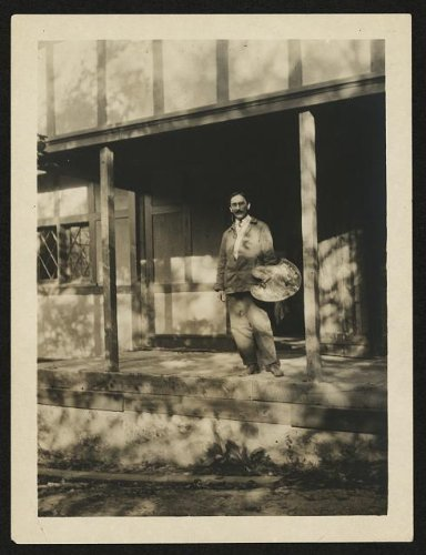 photo-f-tolles-chamberlain-artist-outside-adams-studio-holding-a-palette-1920-1940-size-8x10