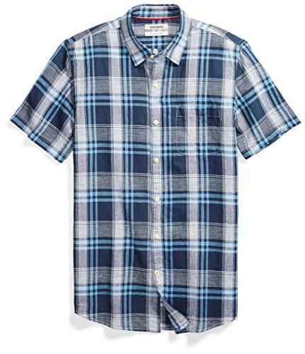 (Goodthreads Men's Slim-Fit Short-Sleeve Linen and Cotton Blend Shirt, Bright Blue Plaid, Medium)