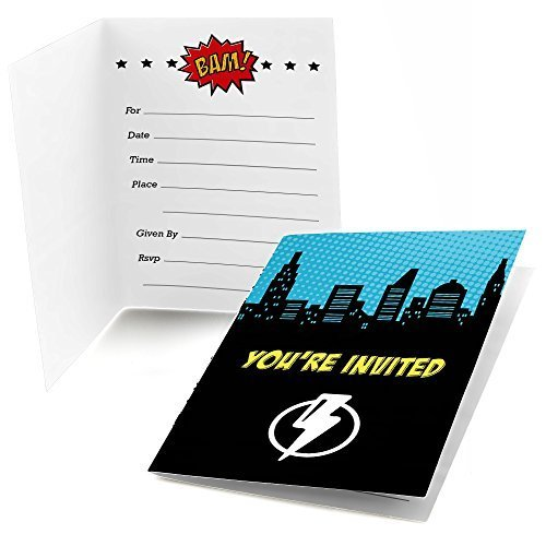 Big Dot of Happiness Bam Superhero - Fill-in Baby Shower or Birthday Party Invitations (8 Count) ()