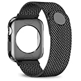 jwacct Compatible for Apple Watch Band with Screen Protector 38mm 40mm 42mm 44mm, Soft TPU Frame Case Cover Bumper Compatible for Apple Series 1/2/3/4 Black