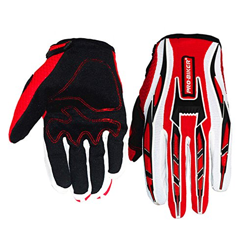 Jackey Awesome Three Colors Optional Pro-Biker Bicycle Motorcycle Motorbike Powersports Racing Gloves (M, Suede Gloves,Red)