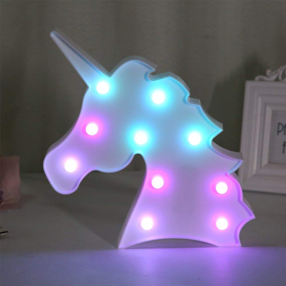 VALFRID 3D Colorful Unicorn LED Lights Night Light,Romantic Night Table Lamp Holiday Home Christmas Party Decor Kids' Baby Living Room