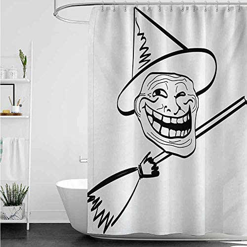 home1love Travel Shower Curtain,Humor Halloween Spirit Themed Witch Guy Meme LOL Joy Spooky Avatar Artful Image Print,for Master, Kid's, Guest Bathroom,W72x72L,Black and White