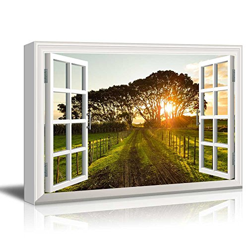 wall26 - Canvas Wall Art - Window Overlooking a Dirt Road into The Sunset - Giclee Print Gallery Wrap Modern Home Decor Ready to Hang - 24x36 inches