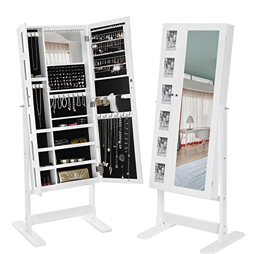 SONGMICS Double Doors Jewelry Cabinet Mirrored Jewelry Armoire Free Standing Storage Organizer ...