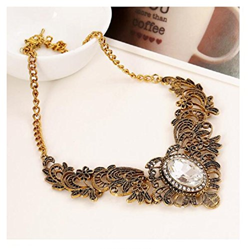 Fariishta Jewelry Vintage Gem Hollow Lace Necklace(white)