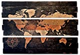 Extra Large World Map and Compass Triptych Wall Art on Distressed Solid Wood 3-piece