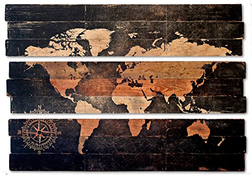 Extra Large World Map and Compass Triptych Wall Art on Distressed Solid Wood 3-piece by PYNEandSTEELE