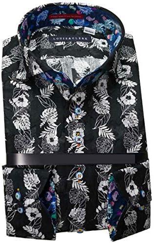 RHD186-008 (ルイス&クラーク) メンズ長袖ワイシャツ カッタウェイ ワイドカラー | 黒