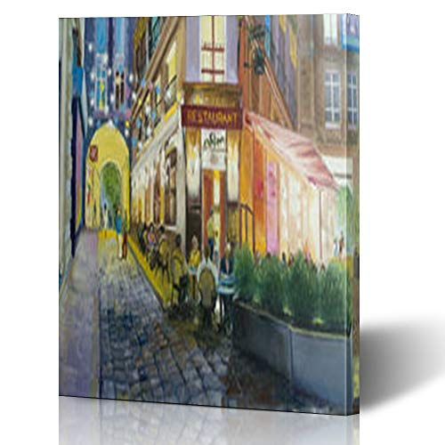 Armko Canvas Wall Art Prints Walk Old Cafe Paris Street Tourism in Saint Andre Painting Bistro Table 16 x 16 Inches Wooden Framed Painting Home Decor Bedroom Office