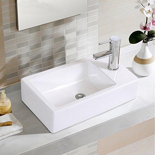 Bowl Kitchen Triple Sink Classics (Giantex Bathroom Ceramic Vessel Sink w/Faucet Hole Vanity Pop Up Drain Modern Art Basin)