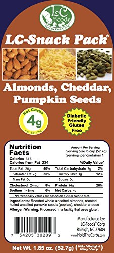 Almond, Cheddar & Pumpkin Seed Snack Pack (6 Pack) - LC Foods - Low Carb - All Natural - Paleo - Gluten Free - No Sugar - Diabetic Friendly - 1.85 oz Each