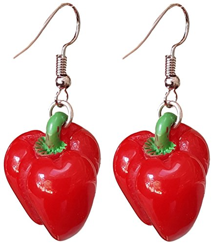 Vegetable and Fruits Resin Dangle Charm Dangle Earrings by Pashal (Red Bell Pepper) (Bell Dangle Charm)