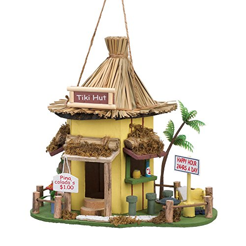 Songbird Valley Bird Houses, Tiki Hut Cute Hanging Modern Birdhouse Wooden Outdoor Decor