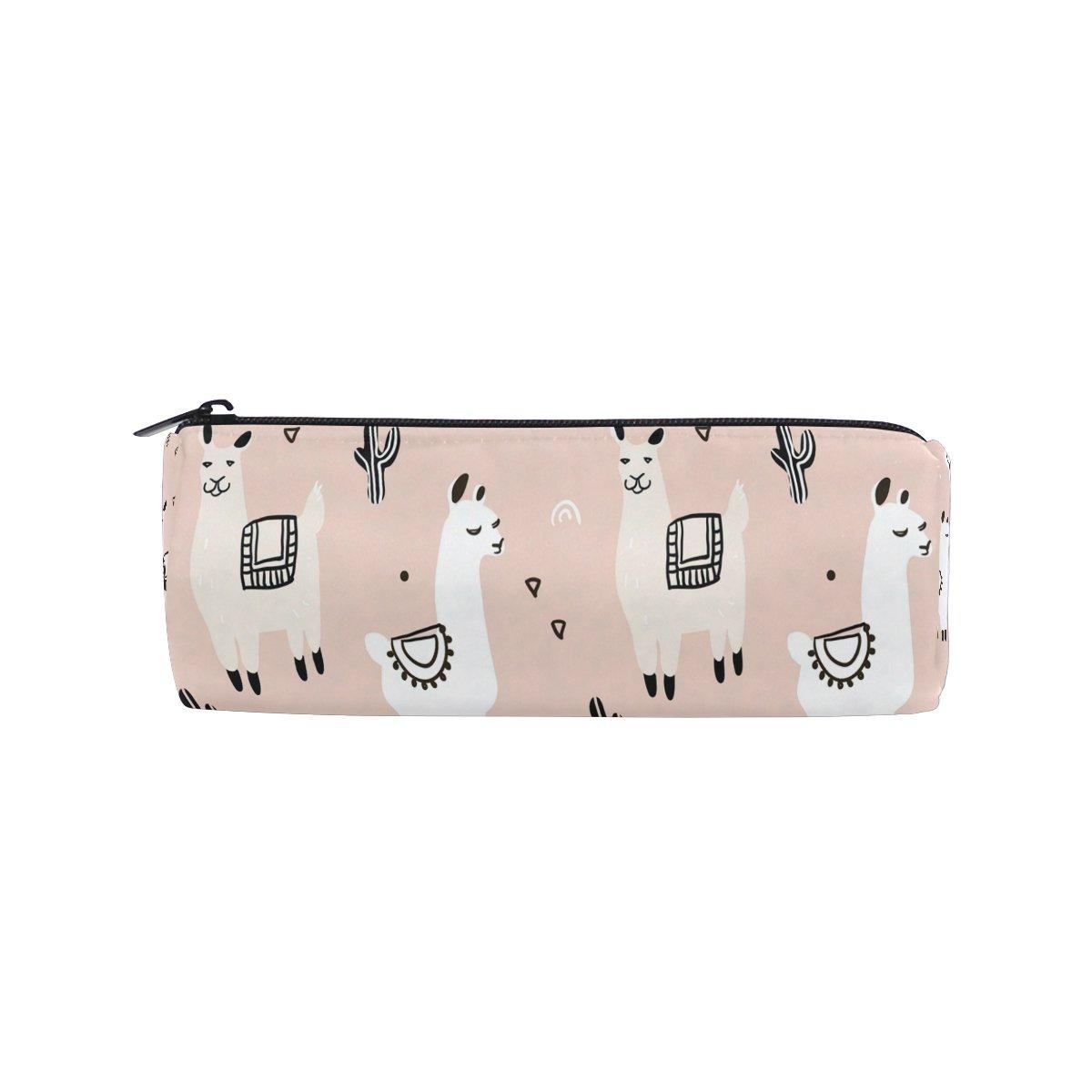 KUWT Pencil Bag Cute Cactus Alpaca Llama, Pencil Case Pen Zipper Bag Pouch Holder Makeup Brush Bag for School Work Office