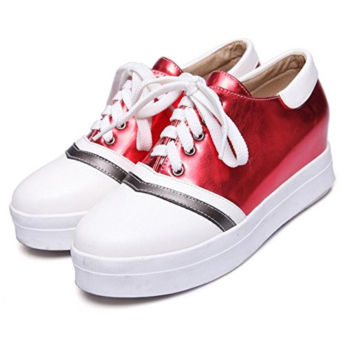 TAOFFEN Women's Mid Heels Lace up Shoes Red rsoK4MeRe