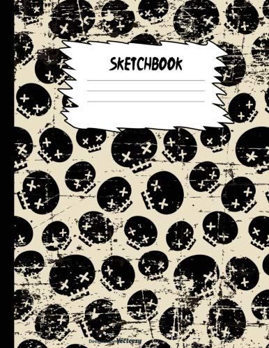 Sketchbook: Halloween Black Skulls Sketch Book for Kids Large Drawing Paper with 80 Pages (8.5