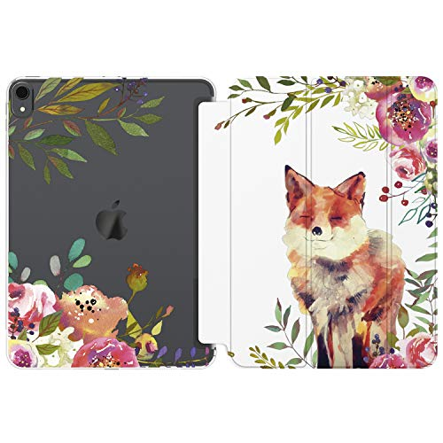 Cavka Case for Apple iPad 12.9 Pro 11 10.5 9.7 inch Air 3 2 Mini 5 4 3 2 1 2019 2018 2017 Fox Flowers Auto Wake Sleep Plants Animal Red Wildflowers Smart Cover Women Design Protective Floral Cute