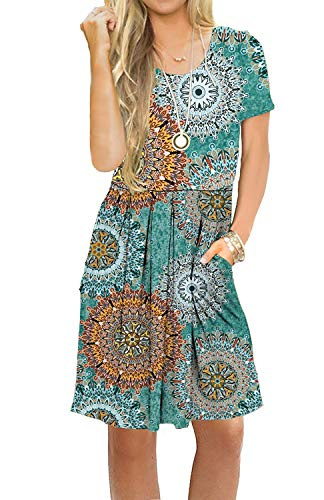 AUSELILY Women's Short Sleeve Pleated Loose Swing Casual Dress with Pockets Knee Length (S, H Print Green) -