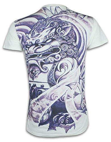 Ronin Men´s T-Shirt Chinese Lion Tattoo Dragon Martial Arts Size M - XL (L, White)