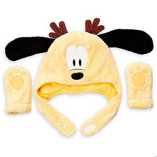 Disney Pluto Holiday Hat and Mittens Set Baby 12-18 Months Yellow