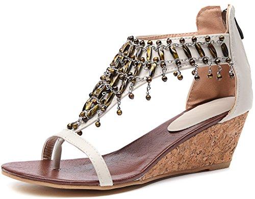 ODEMA Womens Summer Bohemian Beads Back Zip Thong Heels Sandals Apricot