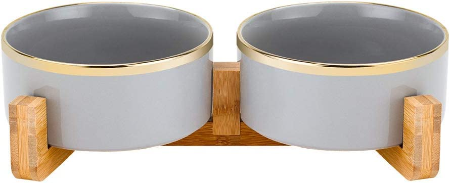 LIONWEI LIONWELI Grey Gold Ceramic Cat Dog Bowl Dish with Wood Stand No Spill Pet Food Water Feeder Cats Large Dogs Set of 2
