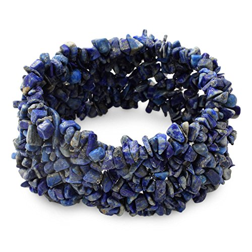 NOVICA Lapis Lazuli Indigo Blue Gemstone Beaded Stretch Bracelet, 6.25