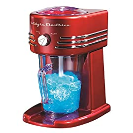 Nostalgia FBS400RETRORED Retro 40-Ounce Frozen Beverage Station 1 40-ounce pitcher Unit simultaneously shaves ice and stirs for perfectly mixed drinks Two shaving settings produce snow or slush ice textures