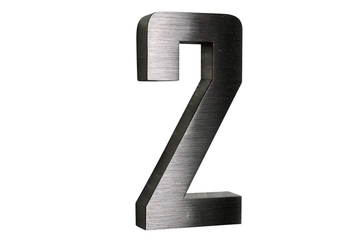 H20cm schwarz Hausnummer Edelstahl Nr.7 V2A ! Arial-3D-Design
