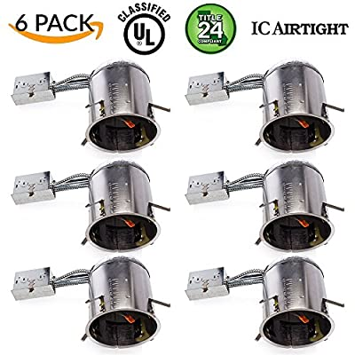 6 PACK - Remodel LED Can Air Tight IC Housing LED Recessed Lighting- UL Listed and Title 24 Certified