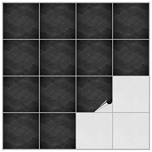FoLIESEN 2246020 Fliesenaufkleber für Küche und Bad - 20 Stück PVC Dekor Black Slate 15 x 15 x 0.5 cm