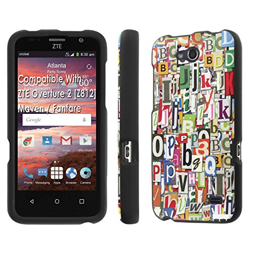 ZTE Overture 2 [Z812]/ Maven / Fanfare Case, [NakedShield] [Black] Total Armor Protection Case - [Alphabet Graffiti] for ZTE Overture 2 [Z812] / Maven / Fanfare (Mercury Maven Ii compare prices)