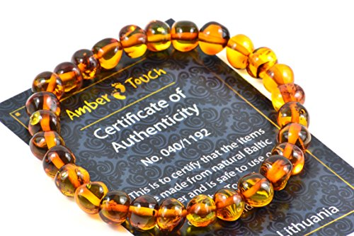 (Baltic Amber Bracelet for Adults made on Elastic Band - Carpal Tunnel, Arthritis, Headache, Migraine Pain Relief (Cognac, 7.5 inch.) )