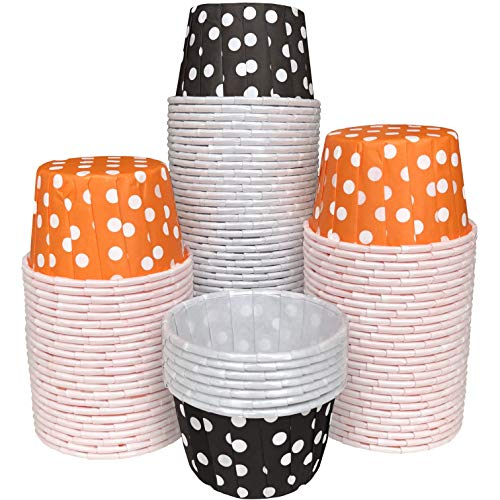 Halloween MINI Candy Nut Paper Cups - Mini Baking Liners - Orange Black White Polka Dot -100 Pack