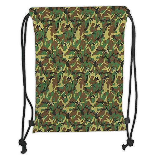 Custom Printed Drawstring Sack Backpacks Bags,Camo,Woodland Camouflage Pattern Abstract Army Force Hiding in Jungle,Dark Green Light Green Brown Soft Satin,5 Liter Capacity,Adjustable String Closure,T