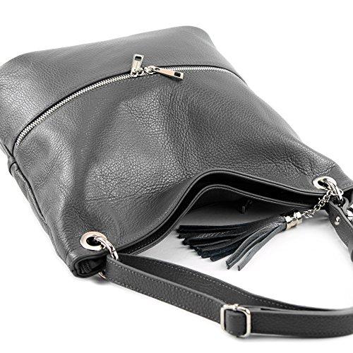 Dark Shoulder de Modamoda Leather bag Leather T143 Shoulder bag Gray ital bag bag RwT6wP