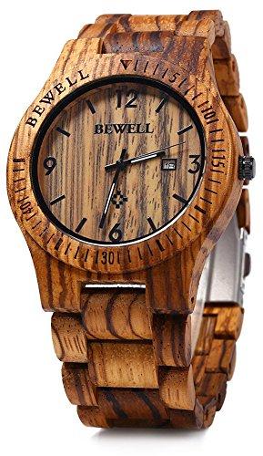 - Bewell ZS-W086B Mens Wooden Watch Analog Quartz Movement Date Display Lightweight Wood Wrist Watch (Zebra Wood)