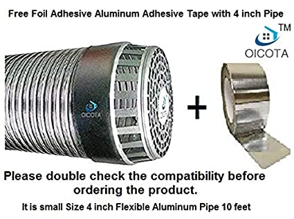 Oicota Aluminium Chimney Exhaust Duct Pipe with Cowl Cover and Free Foil Adhesive Tape, 4-inch, Silver