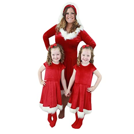 567386ce1e COOKDATE-baby family pajamas Women M Newest Christmas Mom Me Toddler Kids  Baby Girl Princess Dress Family Matching Outfits  Amazon.in  Baby