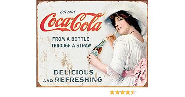 Placa de pared de metal con botella de Coca-Cola y pajita de Coca-Cola Vintage Retro 1473