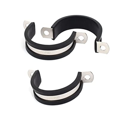 sourcingmap/® 45mm EPDM Rubber Lined U Shaped Saddle Clamp Tube Pipe Clips 5 Pcs