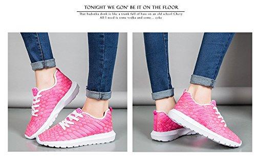 Leggero a Casual scarpe Sport Lucdespo Anti uomini donne Scarpe rose scarpe di da con red maglia resistente Skid e Puro scarpe colorate cucita corsa urti di e wqtUwC