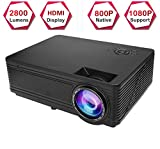 Projector, SD300 Native 720p HD Support 1080p Full HD Home Theater Projector Multimedia LED Movie Projector 2800 Lm Home Cinema Projector for TV Games
